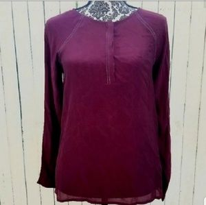 Lucky Brand Sheer Burgundy Blouse